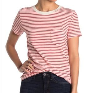 Madewell red white striped tee